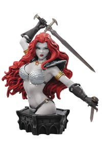 WOMEN DYNAMITE RED SONJA ARTHUR ADAMS BUST B&W PROOF